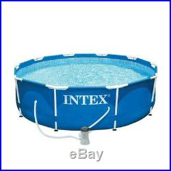 10 ft. Round x 30 in. Deep metal frame soft sided above ground pool with 33