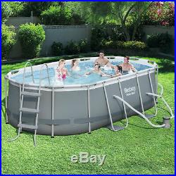 13'11 x 8'2 Power Steel Oval Frame Above Ground Swimming Pool Set Kids Family