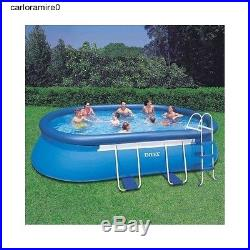Above Ground Swimming Pool Intex Pump Frame Metal Filter Steel Oval Patio Party