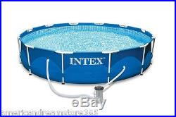 Above Ground Swimming Pool Metal Frame Set 12ft X 30in Easy Assembly Free Pump