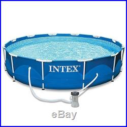 Above Ground Swimming Pool Steel Metal Frame Set 12ft X 30in Round Pump Filter