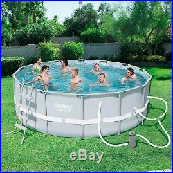 Bestway 14ft x 48in Power Steel Frame Above Ground Round Pool Set and Vacuum