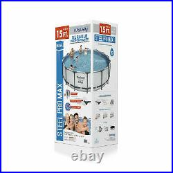 Bestway 15' x 48 Steel Pro Max Round Frame Above Ground Swimming Pool with Pump