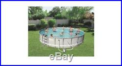 Bestway Power Steel 14' x 42' Frame Swimming Pool Set with Pump Ladder and Cover