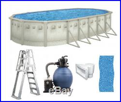 Brazil 12' x 24' x 52 Oval Above Ground Swimming Pool Premium Package