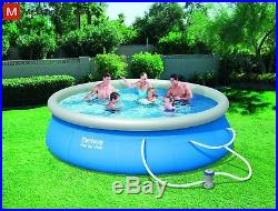 Inflatable Family Pool With Filter Pump 14 Ft. Blue Water Bath Round Outdoor Fun