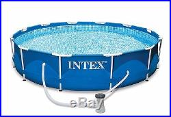 Intex 12 x 30 Metal Frame Above Ground Swimming Pool Package with 530 GPH Pump