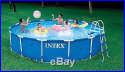 Intex 15 x 36 Metal Frame Above Ground Swimming Pool Package with 1000 GPH Pump