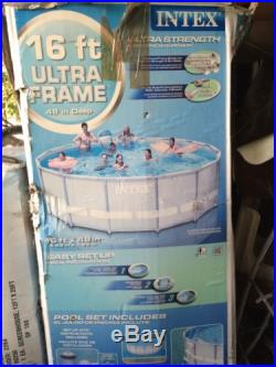 Intex 16' x 48 Ultra Frame Swimming Pool Set With Pump And Ladder