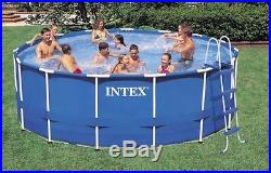 Intex 18-Foot by 48-Inch Metal Frame Pool Set with numerous accessories