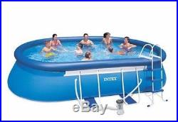 Intex 18' x 10' x 42 Oval Frame Swimming Above Ground Pool Pump Set 28191EH