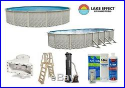 Lake Effect Meadow Above Ground Swimming Pool with Pump & Ladder Kit (Choose Size)