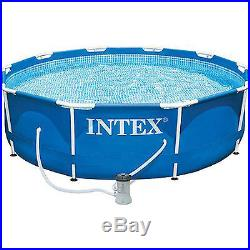 Metal Frame Intex Swimming Pool Set Above Ground Pump Filter Home Party Garden