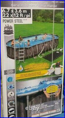 NEW Bestway Power Steel 22 x 12 x 48 Above Ground Oval Pool Set with Pump