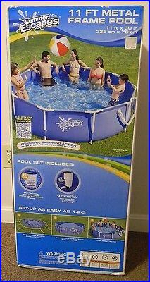SUMMER ESCAPES Metal Frame Swimming Pool 11' X 30 Skimmer Filter Pump New