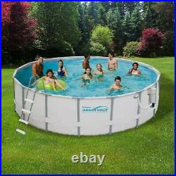 SUMMER WAVES ELITE 14'x42 FRAME POOL WITH FILTER PUMP SYSTEM AND LADDER