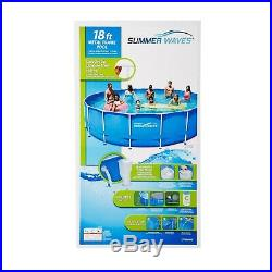 Summer Waves 18'X48 Metal Frame Outdoor Above Ground Swimming Pool with Ladder