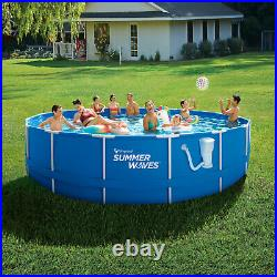 Summer Waves Active 10 Foot Metal Frame Above Ground Pool Set with Filter Pump