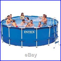 Swimming Pool Above Ground Intex 15' x 48 Metal Frame Filter Pump Ladder Cover